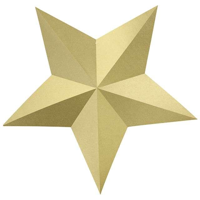 Dekoracja Gwiazdy złoty PartyDeco 6szt