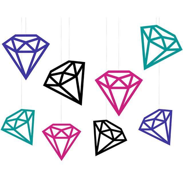 Dekoracje Diamenty mix PartyDeco 8szt