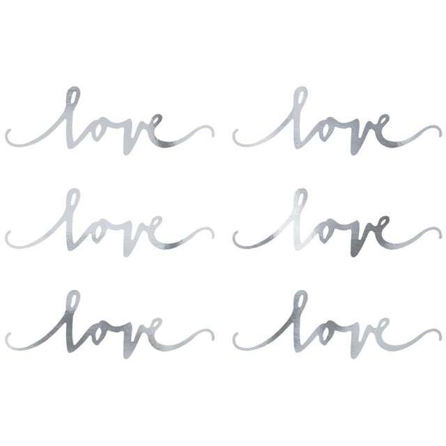 "Dekoracje ""Love"", srebrny, PartyDeco, 6szt"