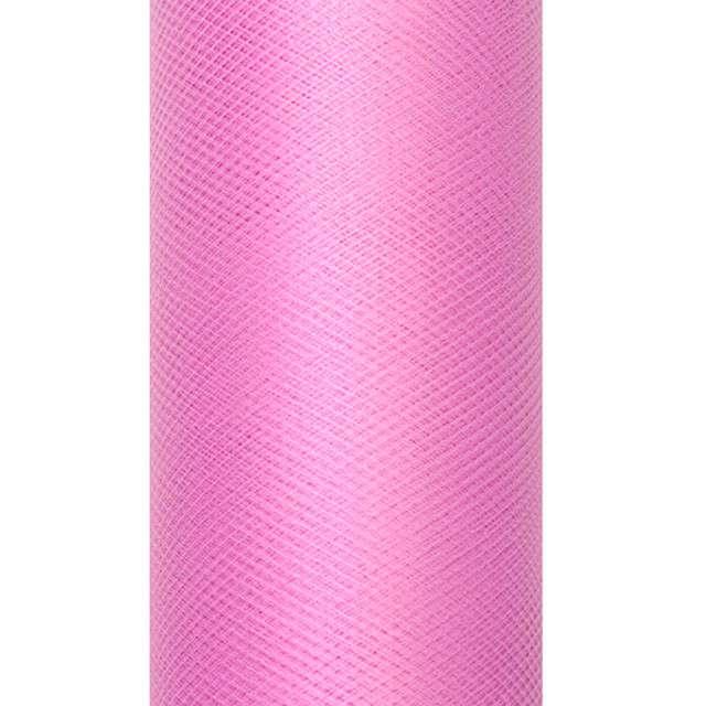 Tiul gładki, różowy ciemny, PartyDeco, 0,3x9m