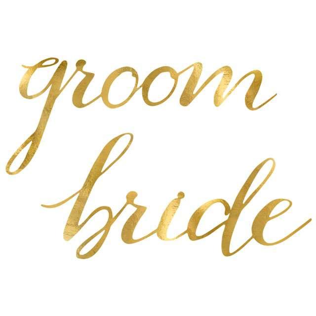 Zawieszki Bride Groom złote PartyDeco 2 szt