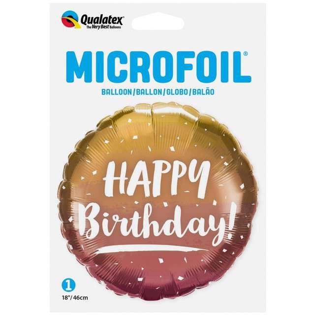 Balon foliowy Happy Birthday Ombre różowo złoty QUALATEX 18 RND