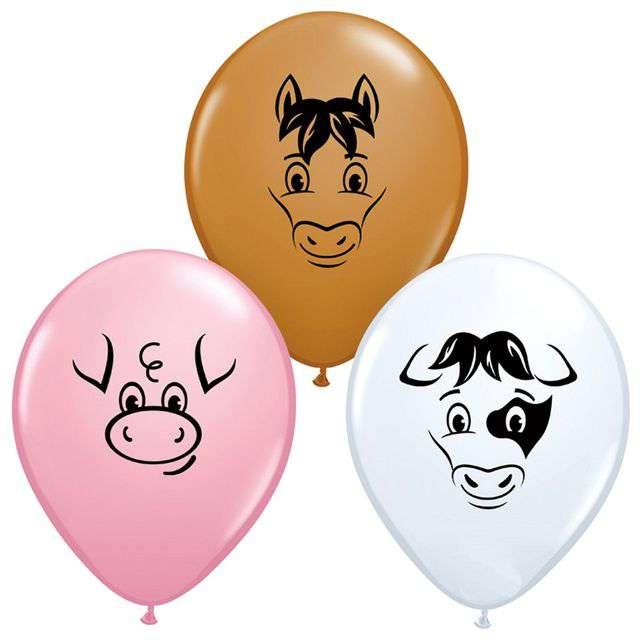 """Balony """"Zwierzęta na wsi"""", pastel mix, QUALATEX, 5"""", 100 szt"""
