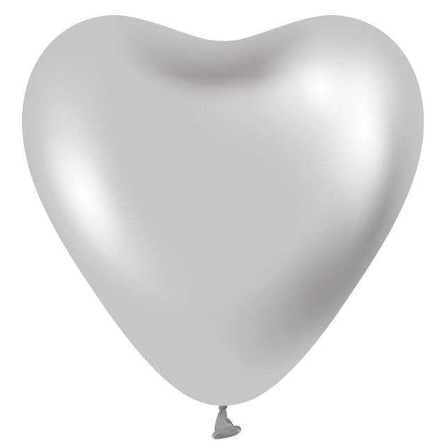 "Balony ""Beauty and Charm - Serca Platynowe"", srebrne, GODAN, 12"", 6 szt"
