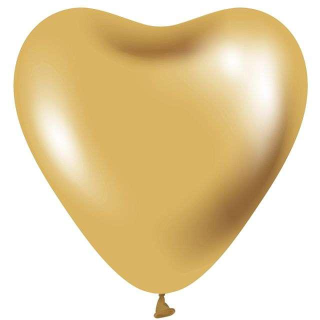 """Balony """"Beauty and Charm - Serca Platynowe"""", złote, GODAN, 12"""", 6 szt."""