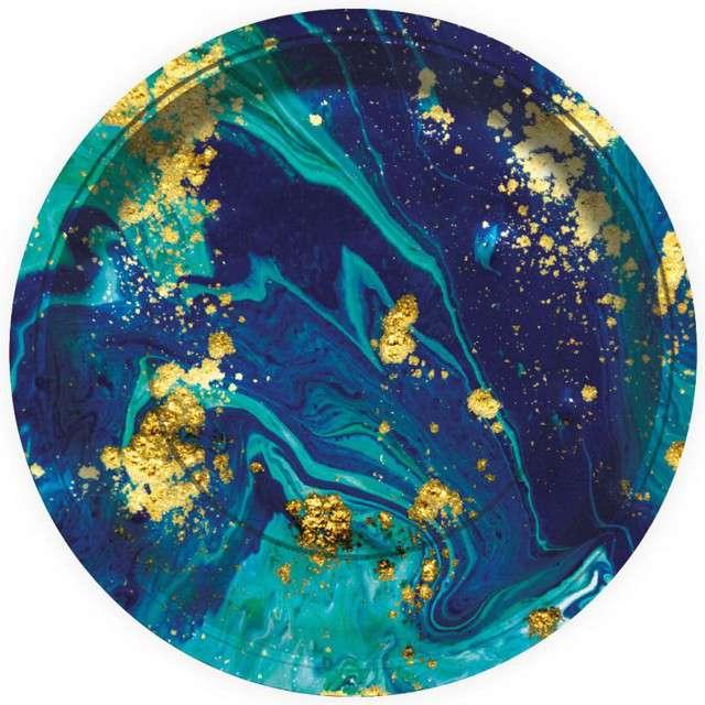 """Talerzyki papierowe """"Midnight Blue"""", granatowe, GODAN, 23 cm, 6 szt"""