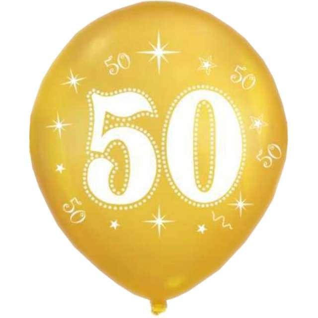 """Balon """"50 Urodziny"""", złoty, DekoracjePolska, 12"""", 5 szt"""