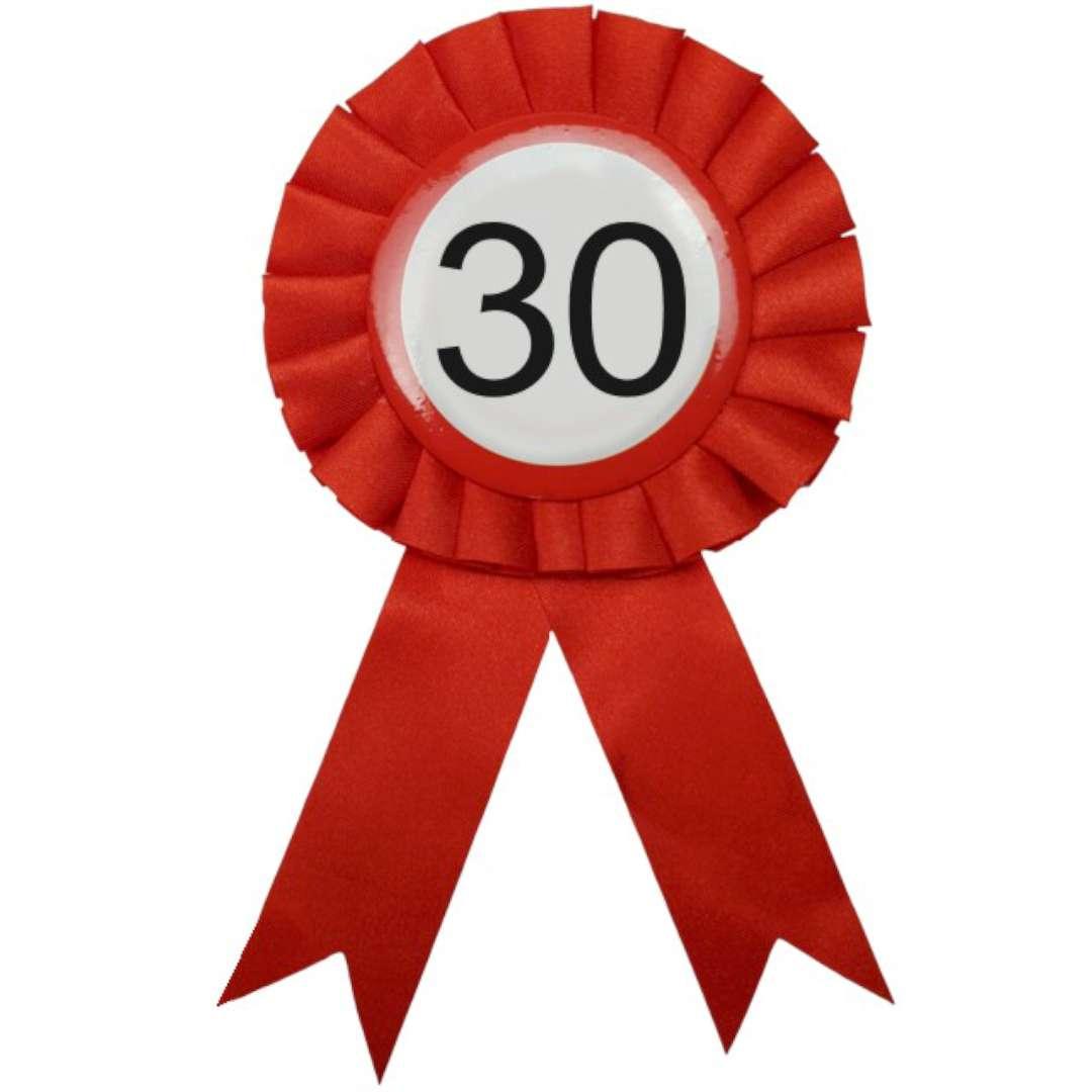 """Kotylion """"Classic - 30 Urodziny"""", czewony, Top Ten"""