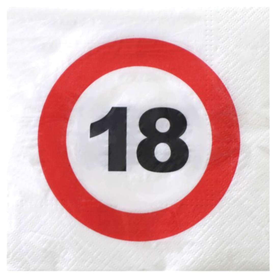 """Serwetki """"Traffic - 18 urodziny"""", Top Ten, 33 cm, 20 szt"""
