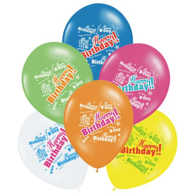 "Balony ""Happy Birthday"", mix, PartyDeco, 6szt"