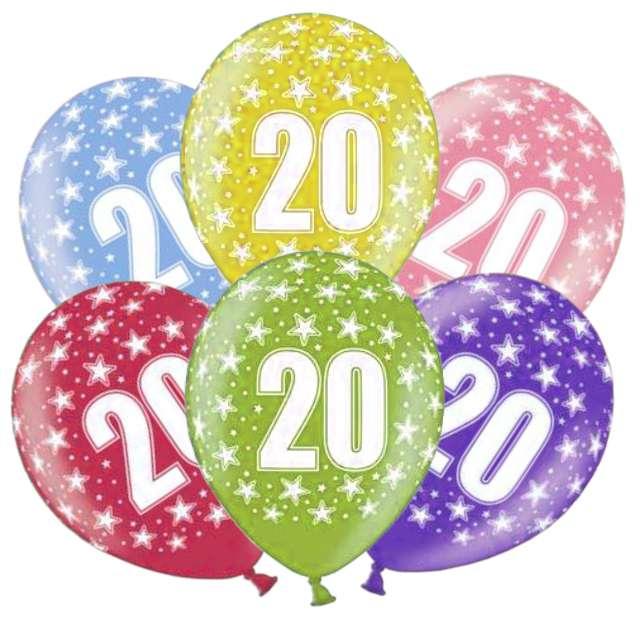 """Balony """"20 urodziny"""", mix, PartyDeco, 6 szt"""