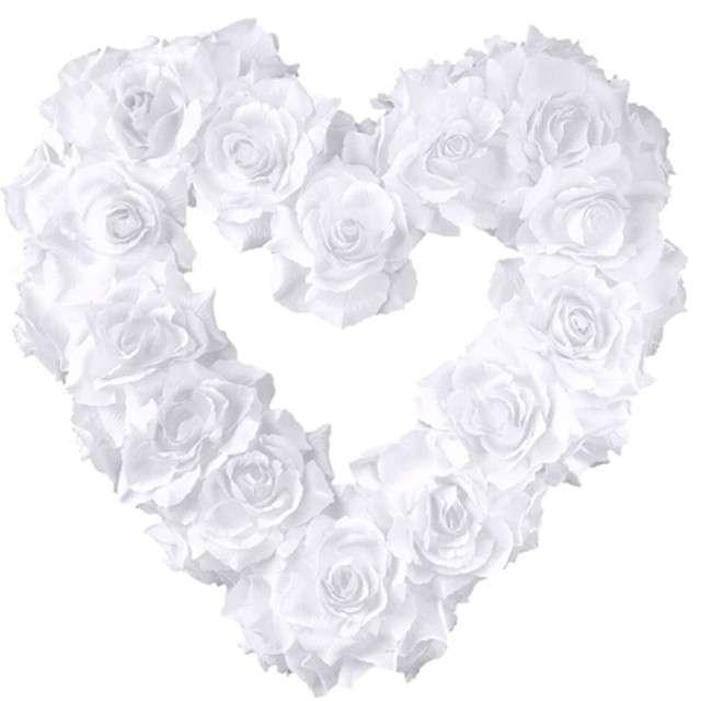"""Dekoracja serce """"Kwiatki"""", białe, PartyDeco, 40cm"""