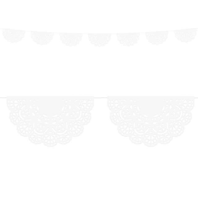 "Girlanda koronkowa "" Classic"", biała, PartyDeco, 1,83m"