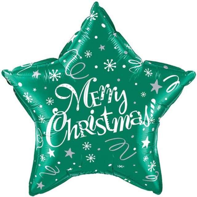 Balon foliowy Merry Christmas - Gwiazda zielony QUALATEX 20 STR