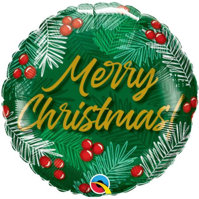 Balon foliowy Merry Christmas - Ostrokrzew QUALATEX 9 RND