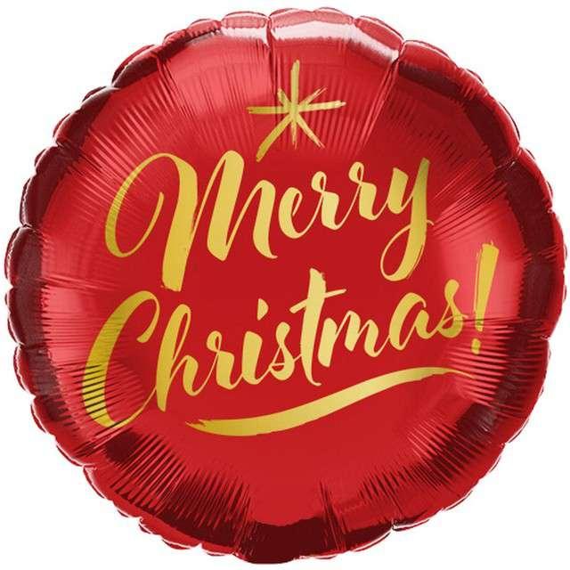 Balon foliowy Merry Christmas czerwony QUALATEX 9 RND