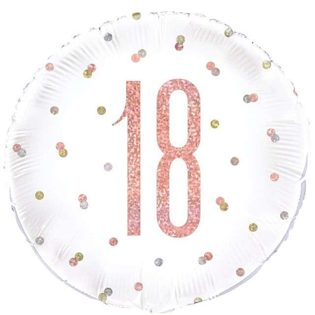 Balon foliowy 18 Urodziny - Glitz Grochy UNIQUE 18 RND