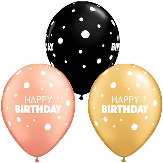 "Balony ""Happy Birthday - Grochy"", pastel mix, QUALATEX,  11"", 25 szt"