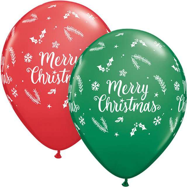"""Balony """"Merry Christmas"""", mix, QUALATEX, 11"""", 25 szt"""