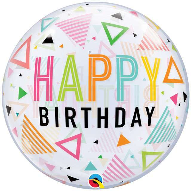 """Balon foliowy """"Happy Birthday - Kolorowe Trójkąty"""", Qualatex, 22"""", ORB"""