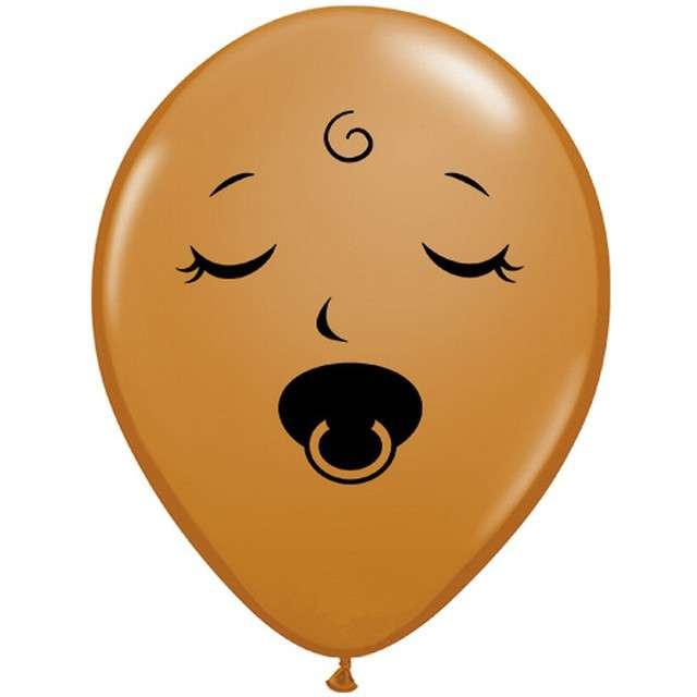 """Balon """"Buźka ze smoczkiem"""", brązowy, Qualatex, 6"""", 100 szt"""