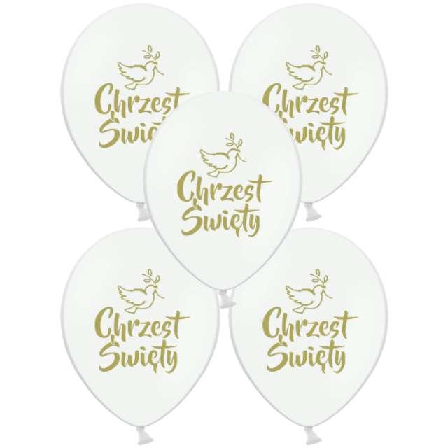 """Balon """"Chrzest Święty - Złoty"""", biały, Grabo, 18"""", 5 szt"""