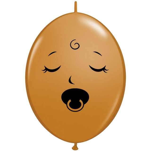 """Balon foliowy """"Buźka ze Smoczkiem"""", brązowy, Qualatex, 6"""", 50 szt"""