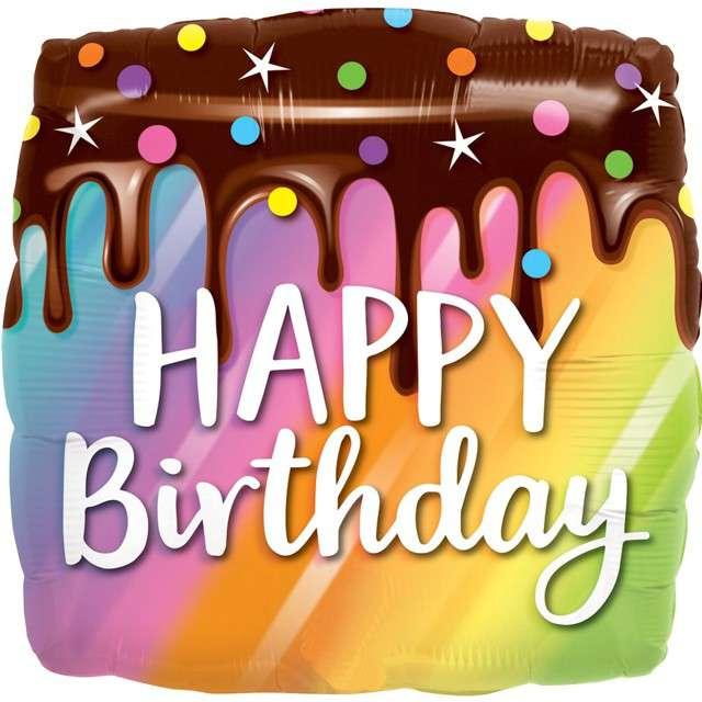 """Balon foliowy """"Happy Birthday - Tęczowy tort"""", QUALATEX, 18"""" SQR"""