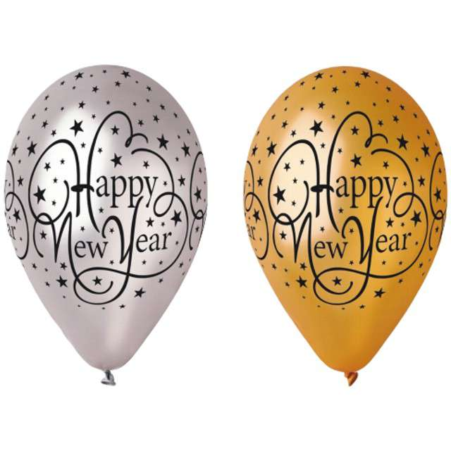 "Balony ""Happy New Year"", metalik mix, GEMAR, 12"", 25 szt"