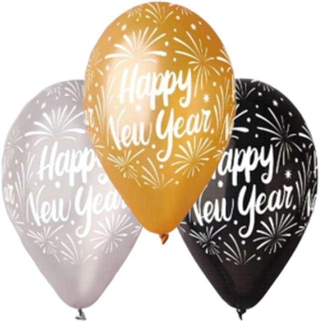 """Balony """"Happy New Year"""", metalik mix, GEMAR, 12"""", 25 szt"""