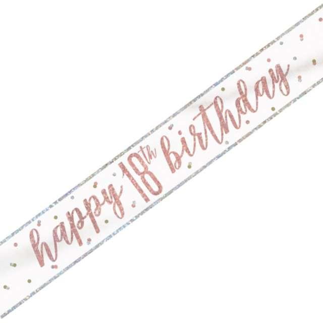 """Baner """"Happy Birthday - Holograficzny 18"""", różowe złoto, 274 cm"""