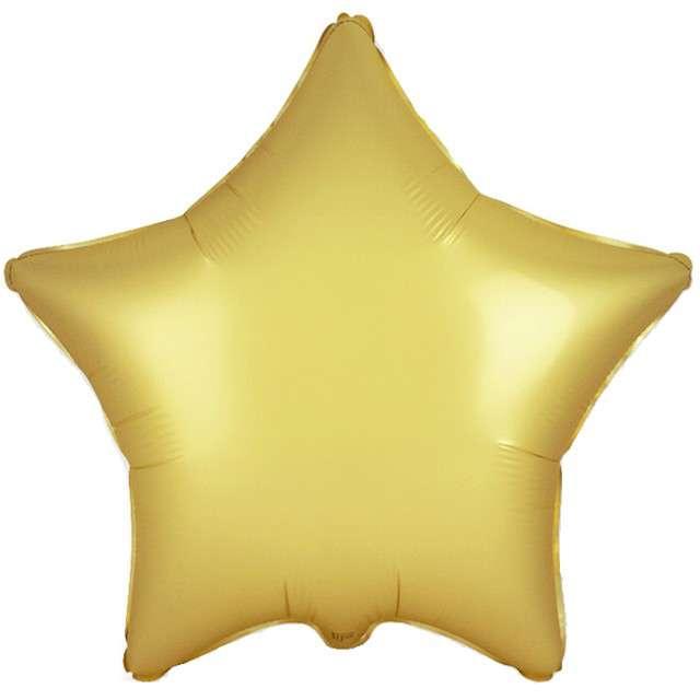 """Balon foliowy """"Gwiazda satynowa"""", złoty, FLEXMETAL, 18"""" STR"""