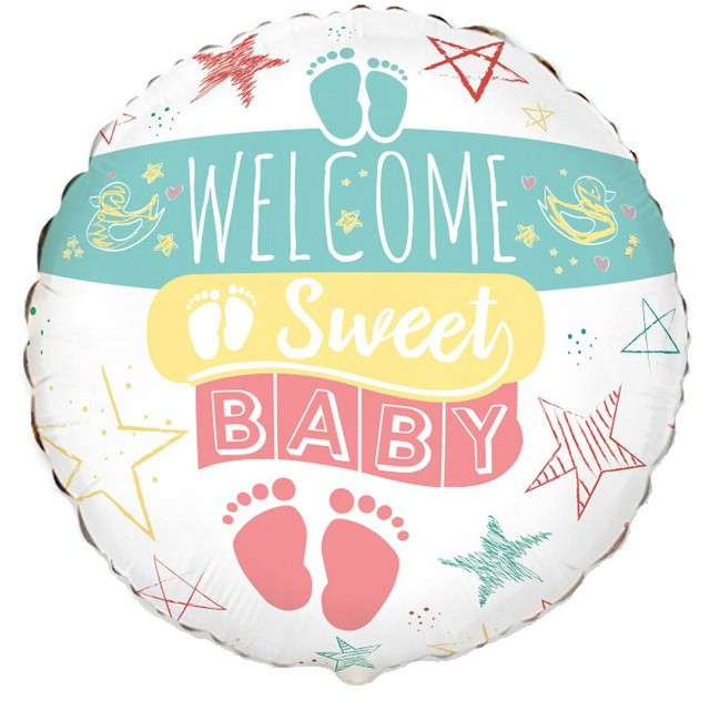 "Balon foliowy ""Baby Shower - Welcome Sweet Baby"", FLEXMETAL, 18"" RND"
