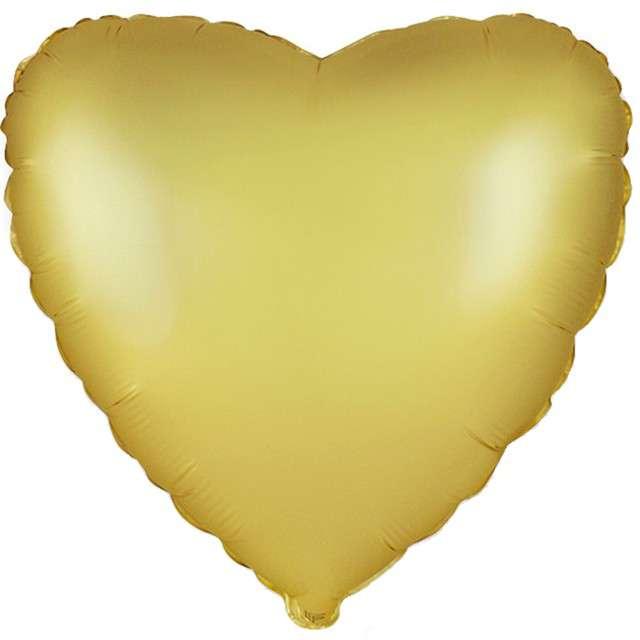 """Balon foliowy """"Serce satynowe"""", złoty, FLEXMETAL, 18"""" HRT"""
