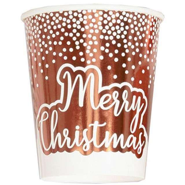"""Kubeczki papierowe """"Merry Christmas"""" różowe złoto, Neviti, 200 ml, 8 szt"""
