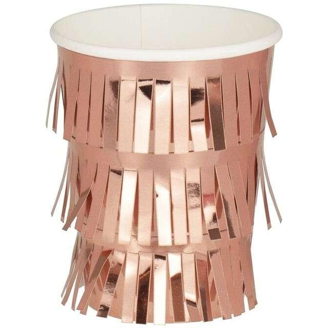 """Kubeczki papierowe """"MIX IT UP z frędzlami"""", różowe złoto, 260 ml, 8 szt"""