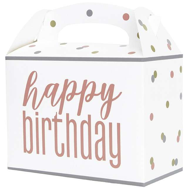 """Pudełko na ciasto """"Happy Birthday w grochy"""", Godan, 6 szt"""