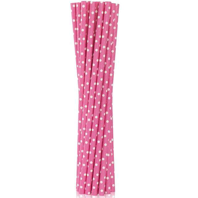 """Słomki papierowe """"BIO w Groszki"""", Godan, różowe, 19 cm, 12 szt"""