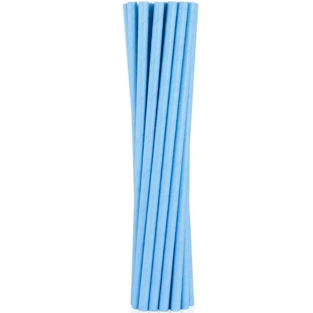 """Słomki papierowe """"BIO"""", Godan, niebieskie jasne, 19 cm, 12 szt"""