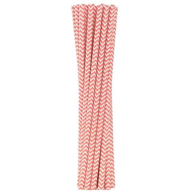 """Słomki papierowe """"BIO Szlaczki"""", Godan, różowe jasne, 19 cm, 12 szt"""
