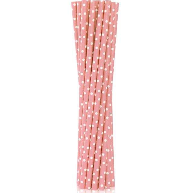"""Słomki papierowe """"BIO Grochy"""", Godan, różowe jasne, 19 cm, 12 szt"""