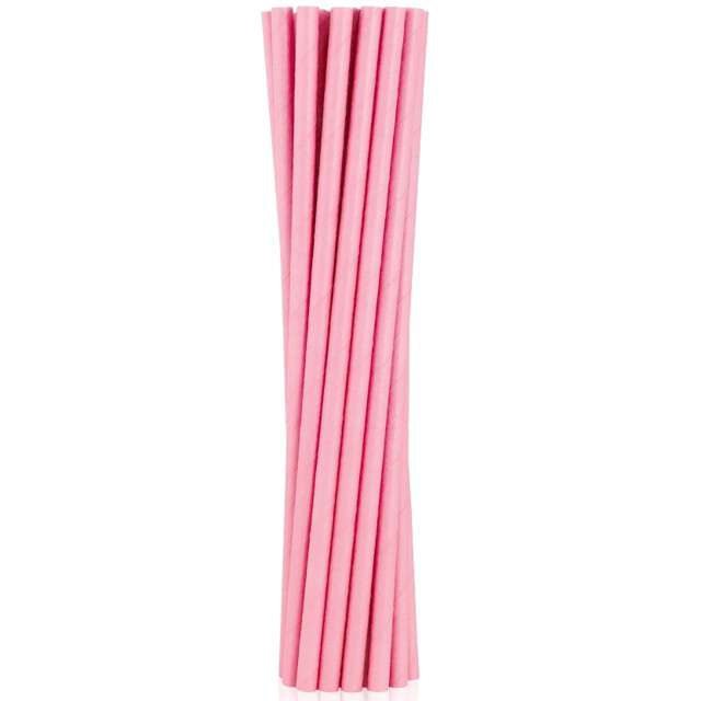"""Słomki papierowe """"BIO"""", Godan, różowe jasne, 19 cm, 12 szt"""