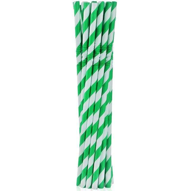 """Słomki papierowe łamane """"Classic"""", Godan, zielone, 20 cm, 12szt"""