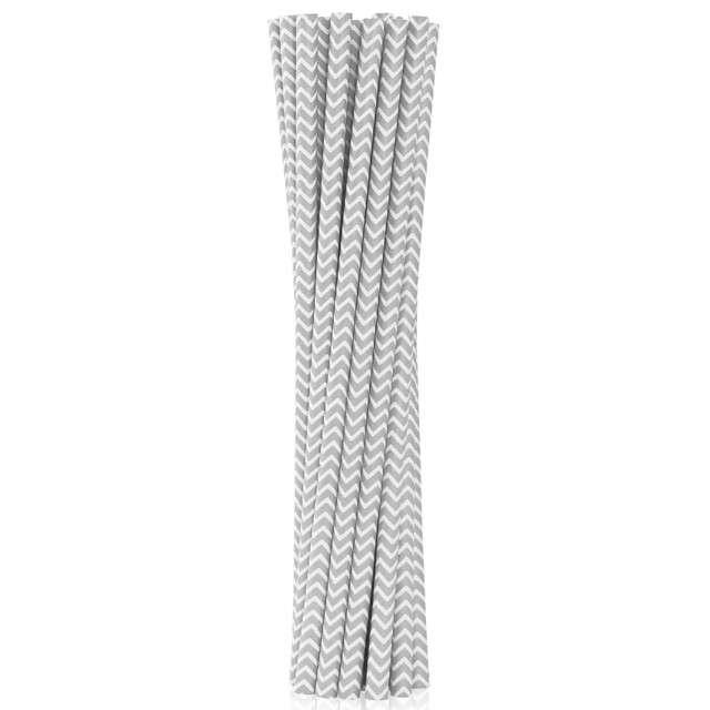 """Słomki papierowe """"BIO Szlaczki"""", Godan, srebrne, 19 cm, 12 szt"""