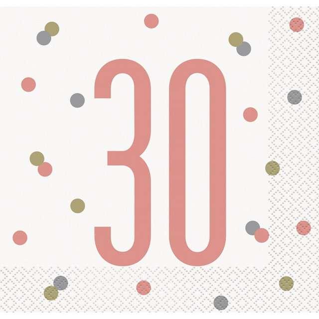 """Serwetki """"30 Urodziny - Glitz"""", UNIQUE, 33 cm, 16 szt"""