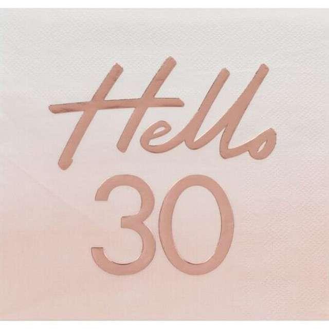 """Serwetki """"Hello 30"""", różowe złoto, Ginger Ray, 17 cm, 16 szt"""
