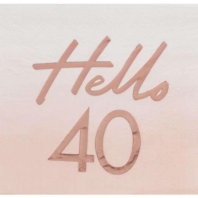 """Serwetki """"Hello 40"""", różowe złoto, Ginger Ray, 17 cm, 16 szt"""