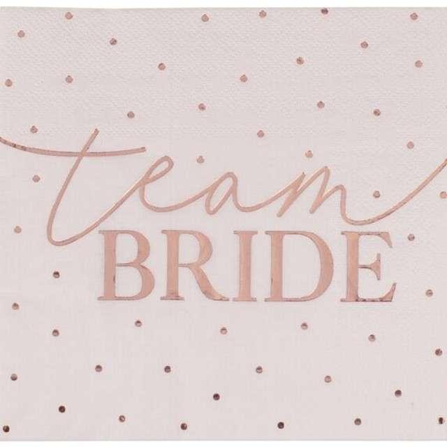 "Serwetki ""Team Bride"", różowe, Godan, 17x17 cm, 16 szt"
