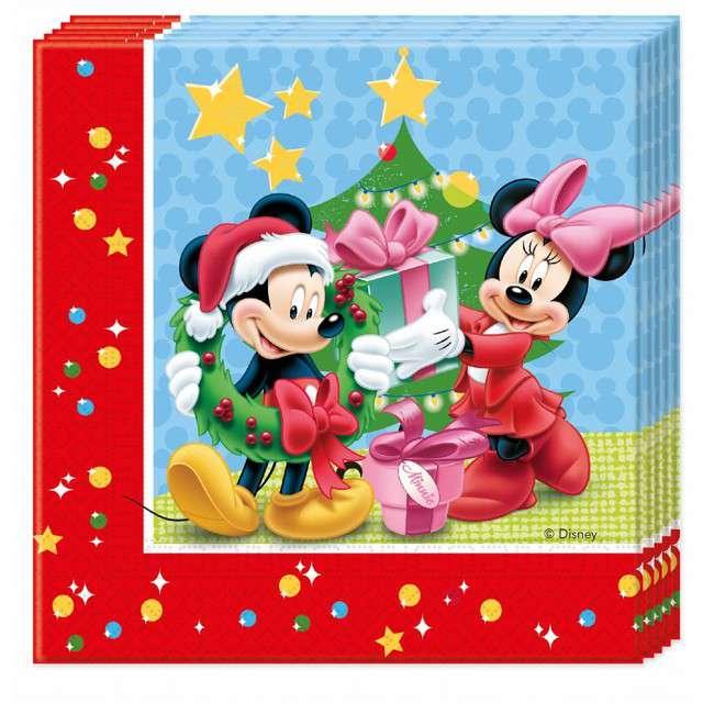 "Serwetki ""Mickey Mouse - Christmas"",  Godan, 33x33 cm, 20 szt"