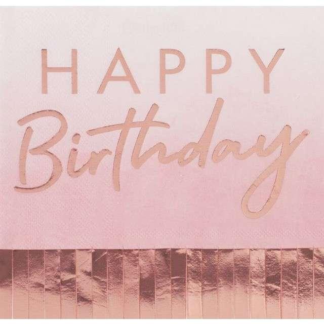 """Serwetki """"Happy Birthday z frędzlami"""", różowe złoto, Ginger Ray, 16 cm, 16 szt"""